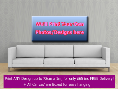 2 x Custom Boxed Canvas Printing - up to 72cm x 1m